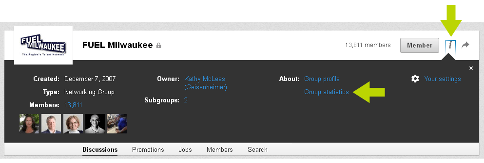 LinkedIn Group Stats: Review the groups you join to ensure they are a good fit for your business goals