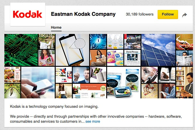 Kodak's social media channels on YouTube, Facebook and Twitter are a medium for customers and fans to contact for help or to ask questions. With their strong B2B focus, their greatest social reach is through LinkedIn where they now boast over 30,000 followers.